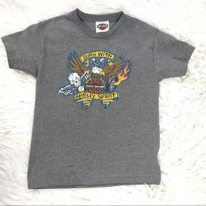 HARLEY DAVIDSON GREY GRAPHIC T SHIRT SMALL